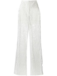 Elie Saab Floral Lace Trousers White