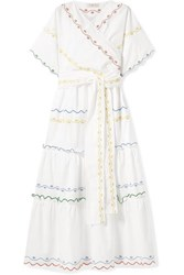 Tory Burch Tiered Embroidered Cotton Poplin Wrap Maxi Dress White