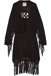 Haute Hippie The Engram Faux Suede Trimmed Cotton Cardigan Black