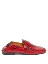 Isabel Marant Fezzy Python Print Leather Penny Loafers Red