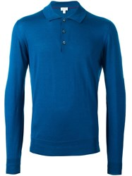Brioni Long Sleeve Polo Shirt Blue