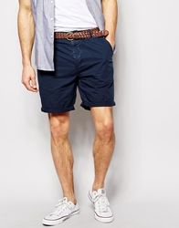 Asos Chino Shorts With Belt In Mid Length Navy