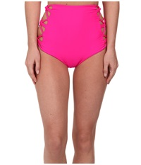 Tori Praver Lotus Strappy Side High Waist Bottom Pitaya Women's Swimwear Red