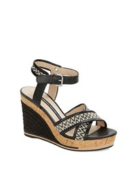 French Connection Lata Leather Platform Wedge Sandals Black White