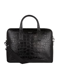 Boss Croc Skin Briefcase Bag Unisex Black