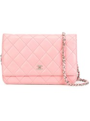 Chanel Vintage Quilted Wallet Chain Pink Purple