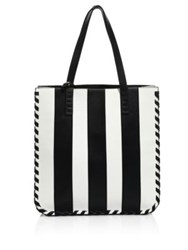 Alice Olivia Alex North South Leather Tote Black White