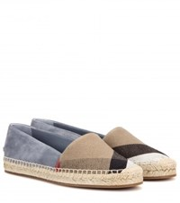 Burberry Hodgeson Suede And Check Espadrilles Multicoloured