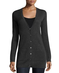Michael Kors Button Front Cashmere Cardigan Charcoal Grey