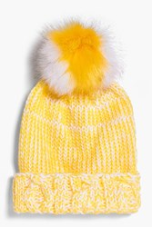 Boohoo Lottie Stripe Faux Fur Pom Beanie Hat Yellow