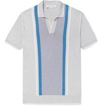Orlebar Brown Horton Slim Fit Striped Silk And Cotton Blend Polo Shirt Gray