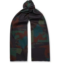 The Workers Club Printed Cotton Scarf Blue