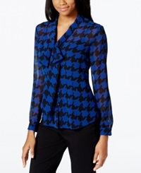 Tahari Asl Houndstooth Print Tie Front Blouse Royal Black Houndstooth