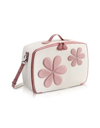Pineider Pink Flower Mini Travel Bag White