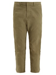 Nili Lotan Jackson Tapered Leg Cotton Blend Cropped Trousers Khaki