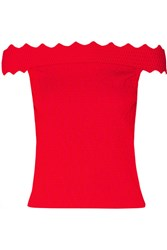 Jonathan Simkhai Off The Shoulder Cropped Textured Stretch Knit Top
