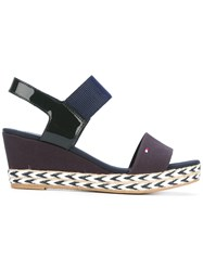 Tommy Hilfiger Wedge Sandals Women Cotton Patent Leather Tactel Rubber 40 Blue