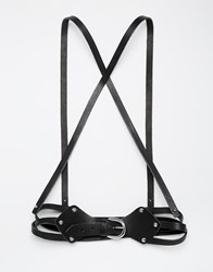 Black And Brown Leather Body Harness With Cross Front And Triple Belt Black
