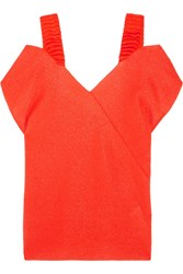 Victoria Beckham Off The Shoulder Stretch Knit Top Bright Orange