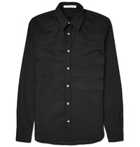 Givenchy Slim Fit Appliqued Stretch Denim Shirt Black