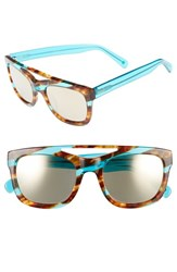 Women's Kensie 'Mirren' 52Mm Aviator Sunglasses Striped Teal And Tortoise