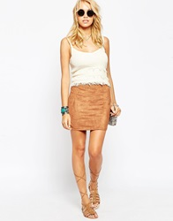 Asos Mini Skirt In Faux Suede Camel