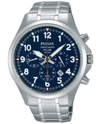 Pulsar Men's Solar Chronograph Stainless Steel Bracelet Watch 43Mm Px5037 No Color