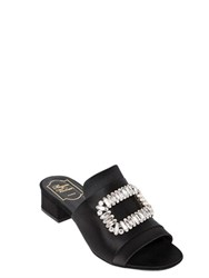 Roger Vivier 40Mm Swarovski Satin Slide Sandals