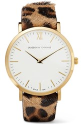 Larsson And Jennings Lugano Leopard Print Calf Hair Gold Plated Watch One Size
