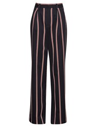 French Connection Stripe Wide Leg Trousers Black Multi