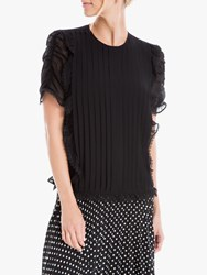 Max Studio Pleated Georgette Blouse Black