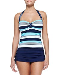 Tommy Bahama Striped Anchor Print Ruched Tankini Top Swmmng Pl Mr Wht
