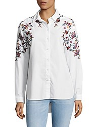 Beach Lunch Lounge Hi Lo Embroidered Cotton Button Down Shirt Blue