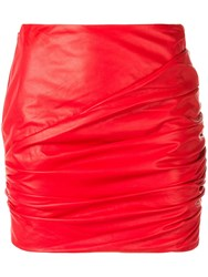 Versace Ruched Mini Skirt Red