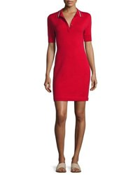 Grey By Jason Wu Short Sleeve Polo Shirtdress Hibiscus Red
