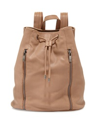 Neiman Marcus Perforated Zip Front Drawstring Backpack Camel