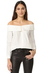 Re Named Collared Off Shoulder Shirt Off White