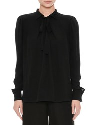 Valentino Long Sleeve Georgette Blouse Black Pink Pattern
