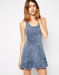 Neon Rose Jersey Skater Dress In Denim Wash Blue