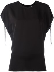 Theory Drawstring Sleeve Detailing T Shirt Black