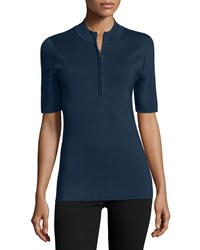 Jason Wu Short Sleeve Quarter Zip Top Navy Women's