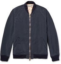 Remi Relief Embroidered Brushed Twill Bomber Jacket Blue