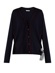 Miu Miu V Neck Gingham Tie Wool Cardigan Navy