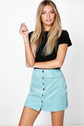 Boohoo Button Front Baby Cord Mini Skirt Blue
