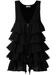 D.Exterior Zip Up Pleated Top Black