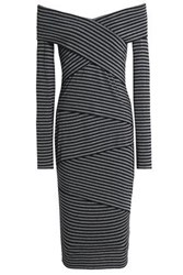 Bailey 44 Edamame Off The Shoulder Striped Stretch Jersey Dress Black