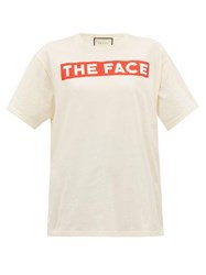 Gucci The Face Print Cotton Jersey T Shirt White