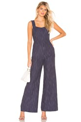 Line And Dot Torri Square Neck Jumpsuit Blue