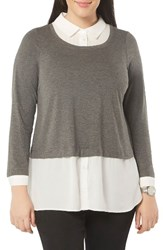 Evans Plus Size Women's Layer Look Mixed Media Top Grey