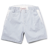 Loro Piana Slim Fit Seersucker Swim Shorts Blue